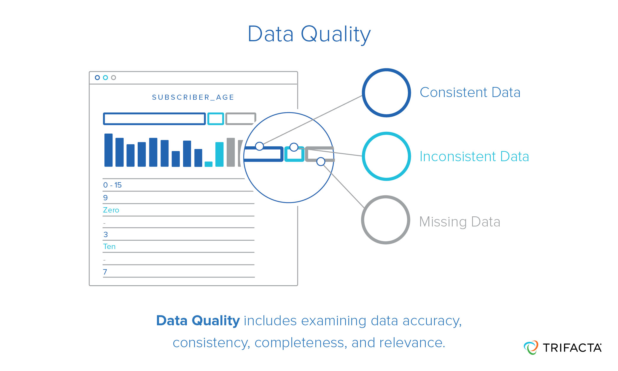 data quality includes examining data accuracy, consistency, completeness, and relevance